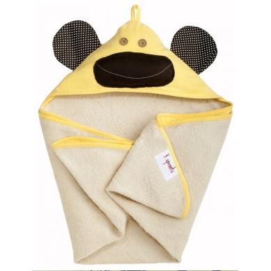 3 Sprouts Duży Ręcznik z Kapturem Małpka Żółta