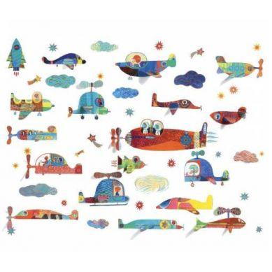 Djeco - Naklejki Dekoracyjne Samoloty