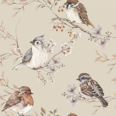 Dekornik - Tapeta Birds Beige