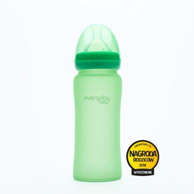 Everyday Baby - Szklana butelka reagująca na temperaturę 300ml Zielona