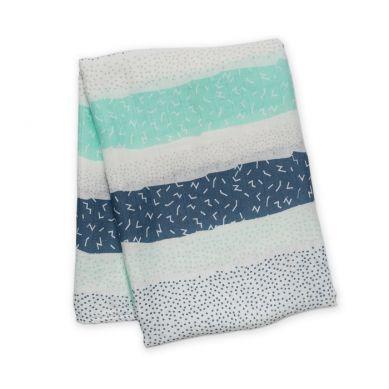 Lulujo - Kocyk Bambusowy Grey Spotted Stripe