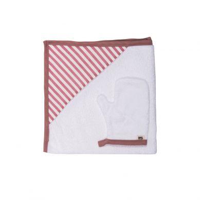 Baby Bites - Ręcznik z Kapturkiem 85 x 85 cm + Myjka Sailor Pink