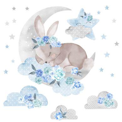 Pastelowelove - Naklejka na Ścianę Śpiący Królik Niebieski