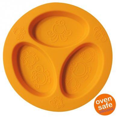 Oogaa - Silikonowy Talerzyk Trójdzielny Orange Divided Plate