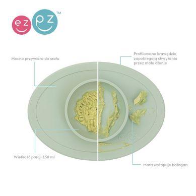 EZPZ - Komplet Pierwszych Naczyń Silikonowych First Foods Set Pastelowa Zieleń