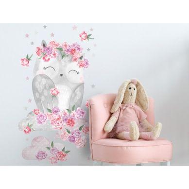 Pastelowelove - Naklejka na Ścianę Sowa Różowa