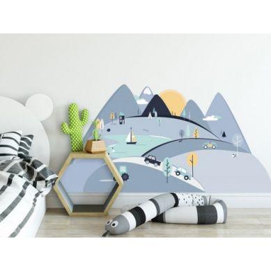 Pastelowelove - Naklejka na Ścianę Góry Niebieskie S 150x75 cm