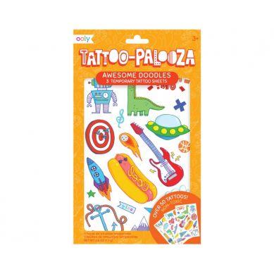 Ooly - Tatuaże zmywalne Tattoo Palooza - Bazgroły Z Zeszytów 3szt. 3+