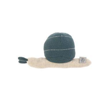 Lassig - Dziergana przytulanka z grzechotką Garden Explorer Ślimak Niebieski