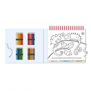 Auzou - Zestaw 50 Kolorowanek Wraz z Kredkami Zwierzęta
