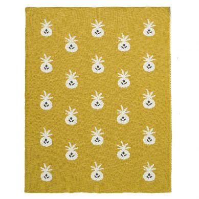 Fresk - Tkany Kocyk z Bawełny Organicznej 100 x 150 cm Ananas Mustard
