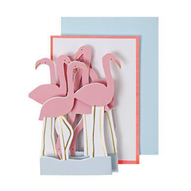 Meri Meri - Karnecik na Życzenia Pink Flamingoes