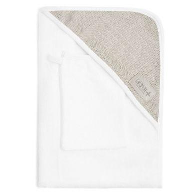 Bamboom - Ręcznik z Kapturkiem + Myjka 100% Bambus Organiczny Biały&Beżowy