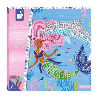 Janod - Zestaw Kreatywny Mozaika Delfiny i Syreny 7+