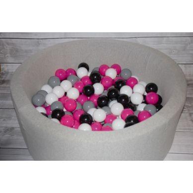 Misioo - Suchy Basen z 200 Piłeczkami 40 cm Jasnoszary + 50 Dodatkowych Piłek