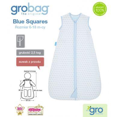 Gro Company - Śpiworek Grobag Blue Squares grubość 2,5 tog Jacquard 0-6m