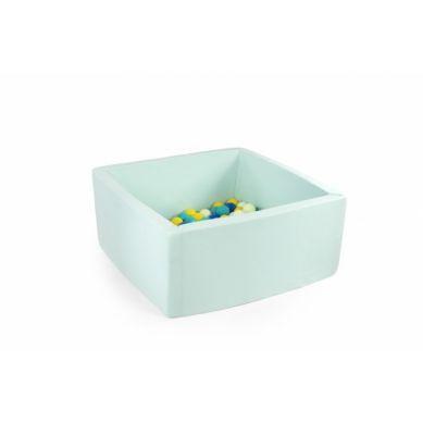 Misioo - Suchy Basen Kwadratowy z 200 Piłeczkami Miętowy 90x90x40 cm + 100 Dodatkowych Piłek