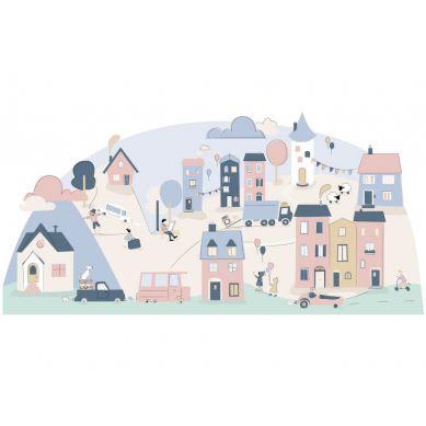 Pastelowelove - Naklejka na Ścianę Miasteczko Różowe S 148x72 cm