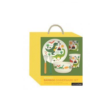 Petit Collage - Bambusowy Zestaw Obiadowy Dino