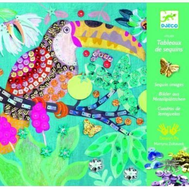 Djeco - Zestaw Artystyczny z Cekinami Rajskie Ptaki