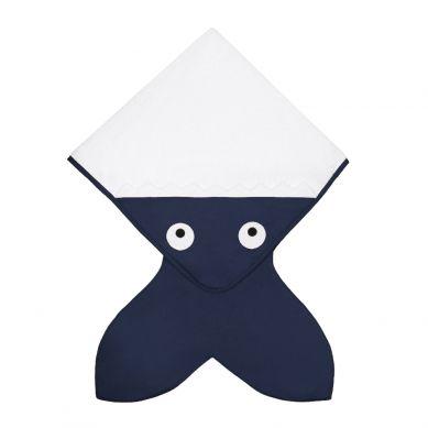 Baby Bites - Ręcznik z Kapturkiem Rekinek Ciemnoniebieski 75x75cm