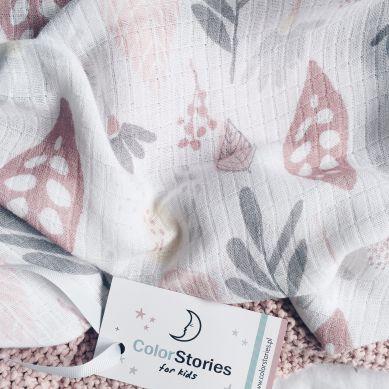 Color Stories - Otulacz Bambusowo-Muślinowy 100x120cm Floral Róż