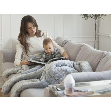 La Millou - Koc/Narzuta dla Dorosłych Velvet Collection Audrey Mint & Grey 160x200cm