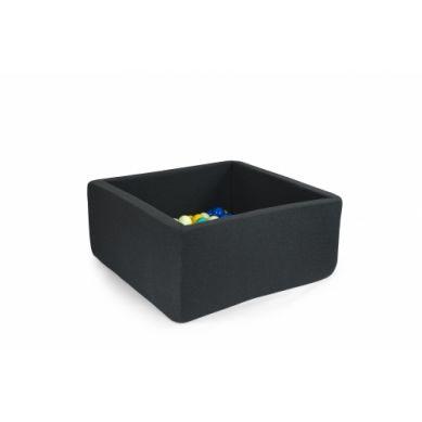 Misioo - Suchy Basen Kwadratowy z 200 Piłeczkami Grafitowy 90x90x40 cm + 200 Dodatkowych Piłek