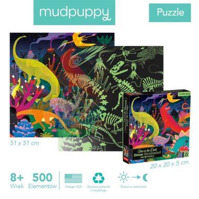 Mudpuppy - Puzzle Świecące w Ciemności Dinozaury 500 elementów 8+