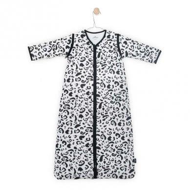 Jollein - Śpiworek Niemowlęcy Całoroczny 4 Pory Roku z Odpinanymi Rękawami Leopard Black & White 90cm