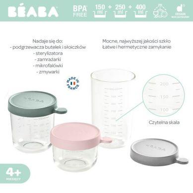 Beaba - Zestaw pojemników słoiczków szklanych z hermetycznym zamknięciem Pink Eucalyptus Green i Light Mist 150ml+250ml+400ml
