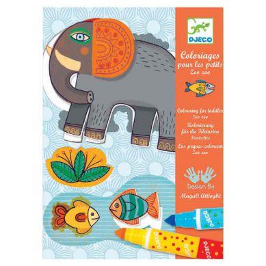 Djeco - Zestaw Artystyczny Kolorowanka z Flamastrami Zwierzęta