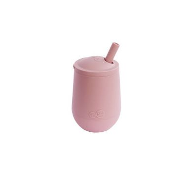 EZPZ - Silikonowy Kubeczek ze Słomką Mini Cup + Straw Training System 120 ml Pastelowy Róż