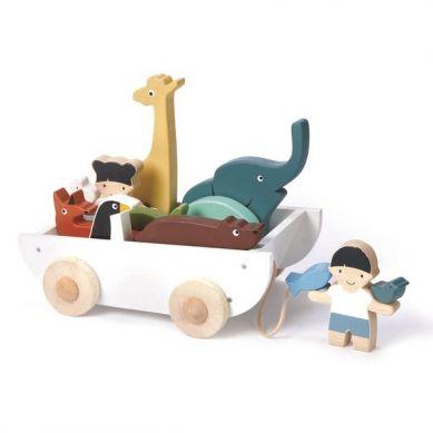 Tender Leaf Toys - Drewniany Statek do Ciągnięcia ze Zwierzątkami 3+