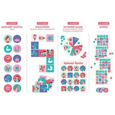 Mudpuppy - Zestaw 4 gier – Memo, Bingo, Domino i Koło Fortuny Księżniczka