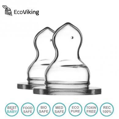 Eco Viking - Antykolkowy Ortodontyczny Smoczek Silikonowy Stage 2 dla Noworodków 2 PACK