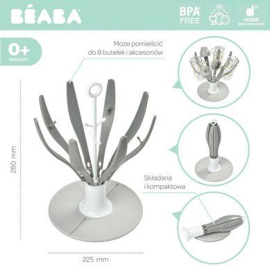 Beaba - Składana Suszarka do Butelek i Smoczków Kwiat Grey