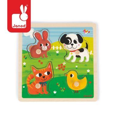 """Janod - Puzzle sensoryczne drewniane """"Moje pierwsze zwierzątka"""""""