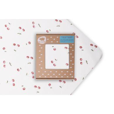 Pink no More - Uniwersalne Prześcieradło z Gumką do Łóżeczka Wisienki 120x60cm