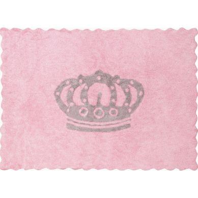 Aratextil - Dywan Bawełniany do Prania w Pralce Herbatnik Różowy z Koroną