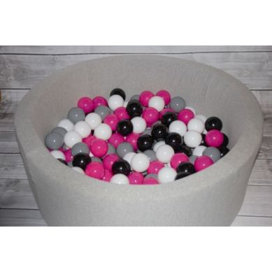 Misioo - Suchy Basen z 200 Piłeczkami 40 cm Jasnoszary + 150 Dodatkowych Piłek