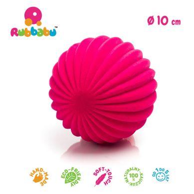 Rubbabu - Piłka Sensoryczna z Delikatną Fakturą Paski Różowa