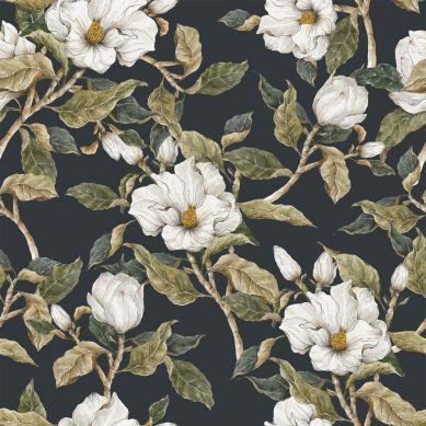 Dekornik - Tapeta Białe Magnolie na Ciemnym Tle