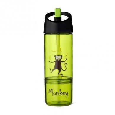 Carl Oscar - Kids Bottle Bidon z Pojemnikiem na Przekąski 2w1 Lime Monkey