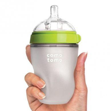 Comotomo - Antykolkowa Butelka Silikonowa Newborn 150 ml Green