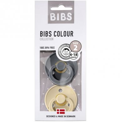 BIBS - Smoczek Uspokajający Hevea 2-pack M Iron & Beige