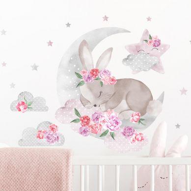 Pastelowelove - Naklejka na Ścianę Śpiący Królik Różowy