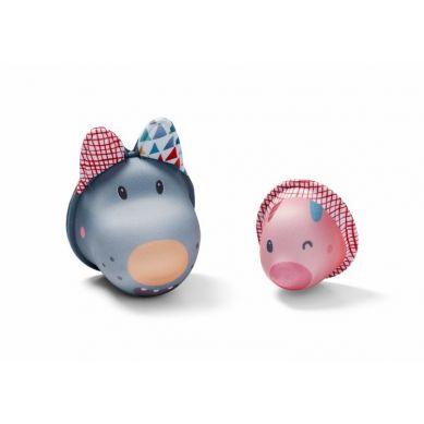 Lilliputiens - Zabawki do Wody Wilk Nicolas i Świnka z Neoprenu Bath Bubbles