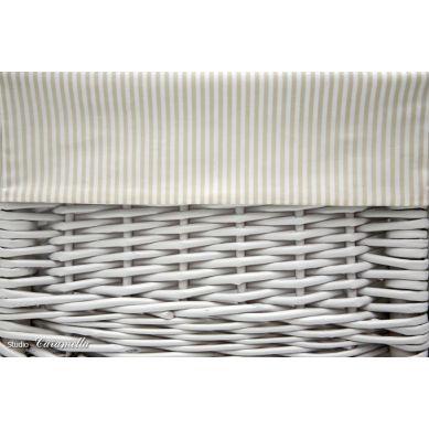 Caramella - Mały Biały Kosz z Beżowym  Obszyciem w Paseczki