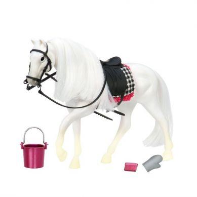 Lori - Biały Koń Rasy Camarillo z Akcesoriami do Pielęgnacji
